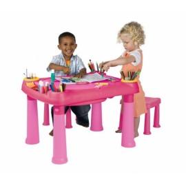 Masuta activitati cu 2 scaune - Roz