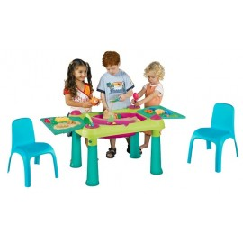 Masuta de activitati Apa si Nisip cu 2 scaunele - Bleu
