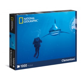 Puzzle 1000 piese national geographic  whitetip shark  clementoni 39303