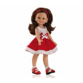 Papusa Cleo in rochie de vara alba-rosie - Paola Reina