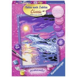 Pictura pe numere delfini si asfintit