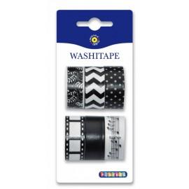 Set 6 benzi hartie Washi alb-negru