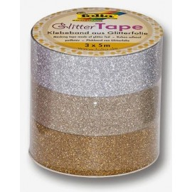 Set 3 Role Banda Adeziva Glitter Gold imagine