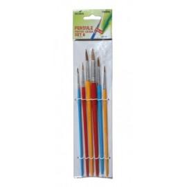 Set 6 pensule cu varf rotund - Ecada