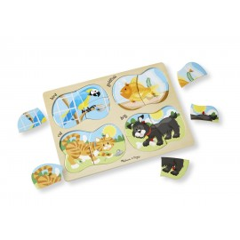 Puzzle Lemn 4 In 1 Animale De Companie imagine