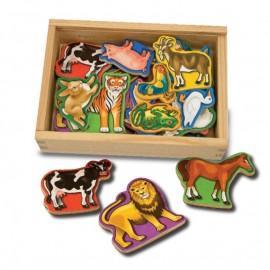 Melissa & Doug - Animale de lemn cu magneti