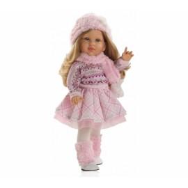 Papusa Audrey in tinuta roz de iarna - Paola Reina