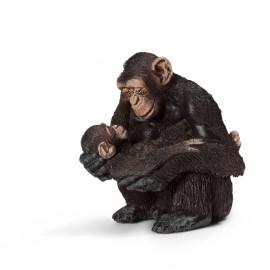 Figurina animal cimpanzeu femela cu pui