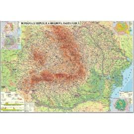 Harta fizica Romania si Republica Moldova 2000x1400 mm