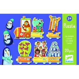 Puzzle Djeco Trenulețul cu animale numărate