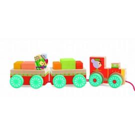 Trenuleț cu cuburi si pinguini Djeco