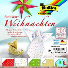 Hartie origami 50 coli 15x15 Craciun