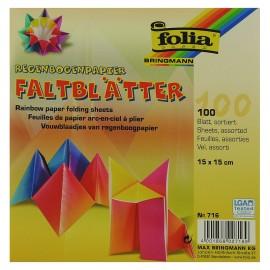 Hartie origami 100 coli curcubeu 15 x 15