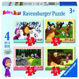 Puzzle masha si ursul 4 buc in cutie 12162024 piese