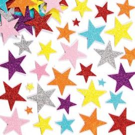 Autocolante neopren stele cu sclipici - Baker Ross