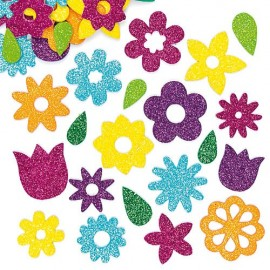 Autocolante neopre flori gliter - Baker Ross