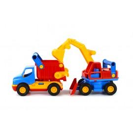 Camion cu basculanta si excavator, Wader