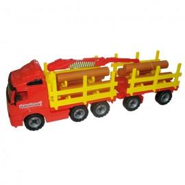 Camion transport busteni cu remorca, Wader