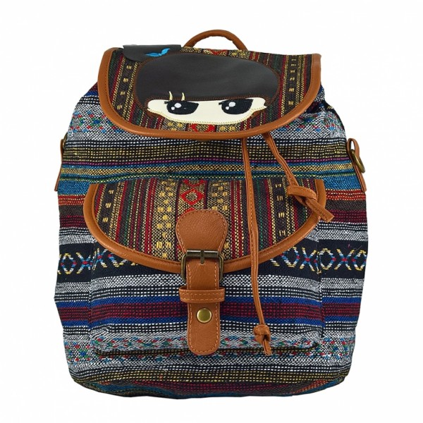 Rucsac urban Romanitze, 2in1, jacard cu motive multicolore, LaRue