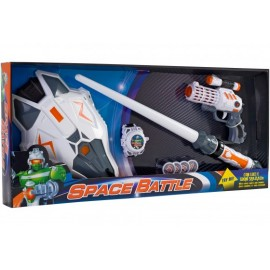 Set sabie copii cu scut lansator cu discuri si pistol cu sunete si lumini