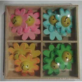 Cutie Smiley pe Floare - 12 buc autoadezive