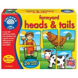 Joc educativ asociere Prietenii de la ferma FARMYARD HEADS & TAILS