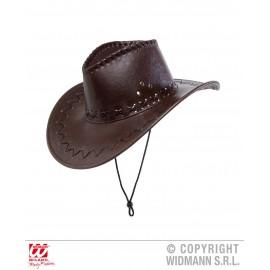 Palarie cowboy maro imitatie piele