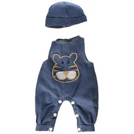 Salopeta Jeans Cu Palarie Pentru Papusi 40-42 Cm - Miniland imagine