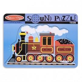 Melissa & Doug - Puzzle de lemn cu sunete Locomotiva cu aburi