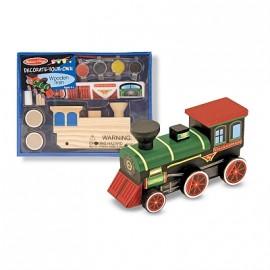 Melissa & Doug - Trenulet din lemn de asamblat si pictat