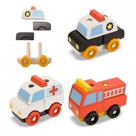 Melissa & Doug - Vehicule de interventie din lemn