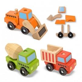 Melissa & Doug - Vehicule utilitare pentru constructii din lemn