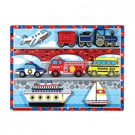 Melissa & Doug - Puzzle lemn in relief Mijloace de transport