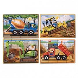 Melissa & Doug - Set 4 puzzle lemn in cutie - Vehicule pentru constructii