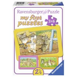 Primul meu puzzle animalute 3x6 piese