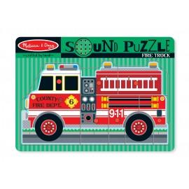 Melissa&Doug - Puzzle de lemn cu sunete Masina de Pompieri