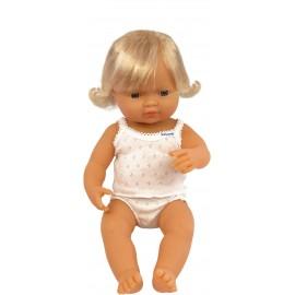 Miniland - Baby european (fata) Papusa 38 cm