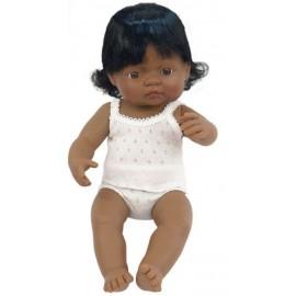 Miniland - Baby hispanic (fata) Papusa 40cm
