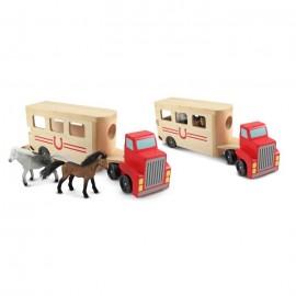 Melissa & Doug - Camion Transportor de Cai cu Remorca