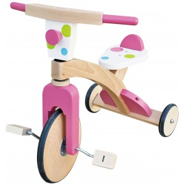 Tricicleta din lemn Bulina Roz