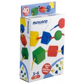 Miniland - Joc cu 40 forme geometrice pentru sortat si insirat