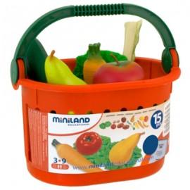 Miniland - Cos cu fructe si legume de jucarie