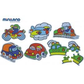 Miniland - Puzzle tematic cu mijloace de transport 3-5 piese